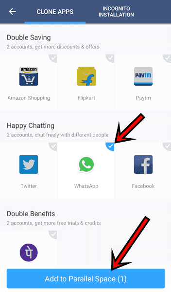 2 WhatsApp kaise chalaye select App Parallel Space
