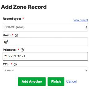 Dns record godaddy without domain