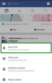 Facebook Save Link Tips Trick