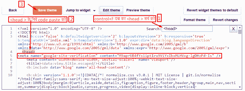 Blogger html code paste search console webmaster toolsweb