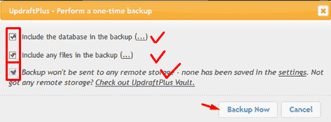 updraftplus plugin option backup
