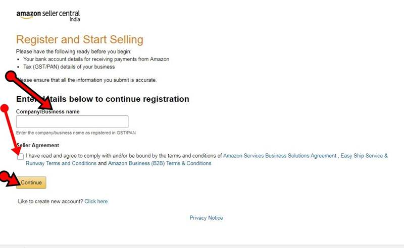 Amazon Sell Create Account info Details