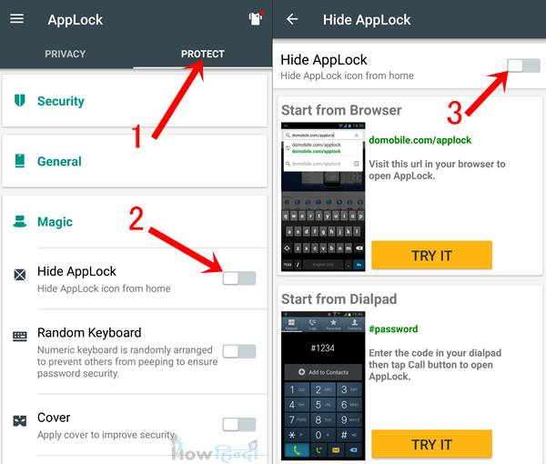 Applock hide number settings