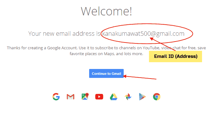 Create new Email Account in hindi Welcome message