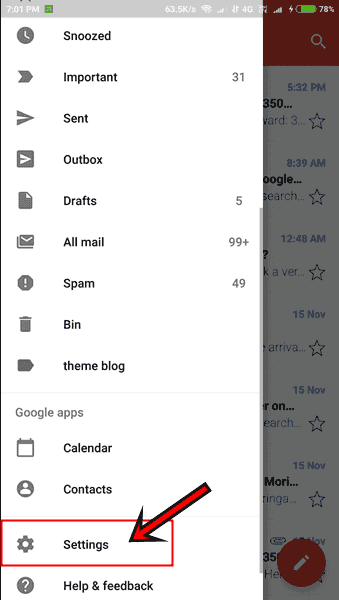 Gmail settngs option for set Profile photo image