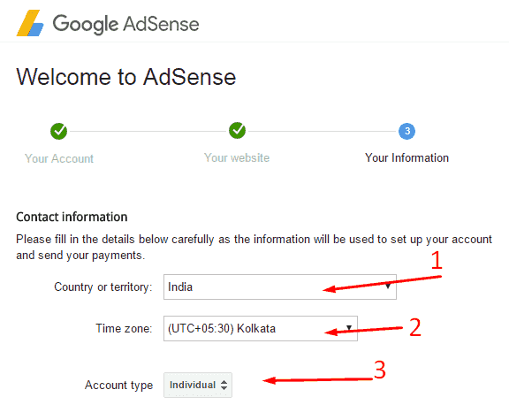 Google Adsense Account Creating information
