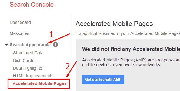 Google search console AMP Appearance check in hindi