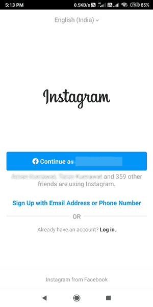 Instagram Id Sing in Login Register Account Hindi