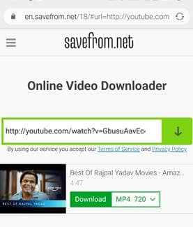 Jio Phone Me Video Download kare Savefrom Using Youtube Link