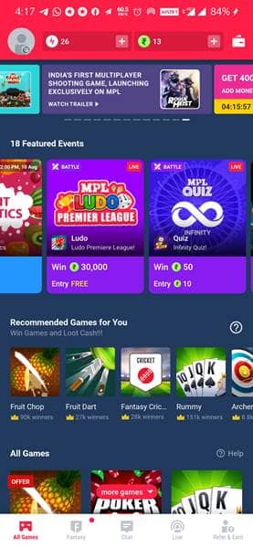 MPL Paise Kamane wala Game Apps Download Chahiye