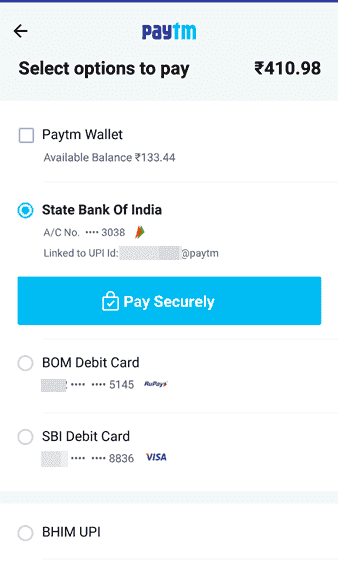 Online paytm payment for train rail ticket Booking