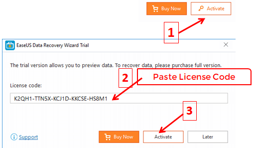 Paste License Code to Activate EaseUS Data Recovery Wizard