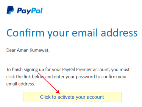 PayPal Email Verify Activation
