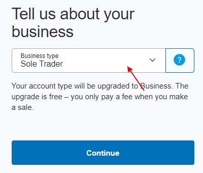 Paypal Business Type Select