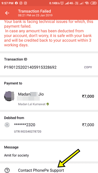 PhonePe Transaction Failed Pending Problem Hindi Contact PhonePe Support