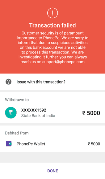 PhonePe Transfer Failed in Hindi