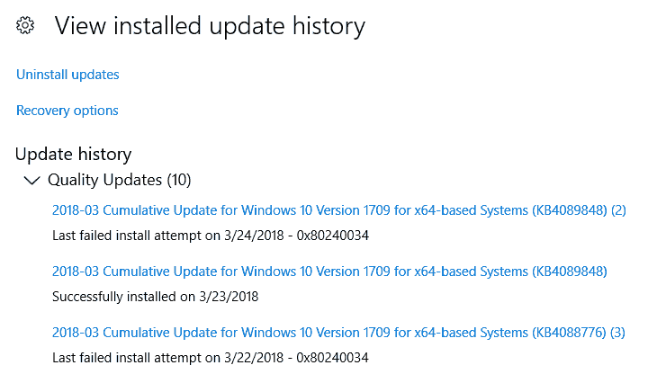 Windows 10 Update 1709 failed to install
