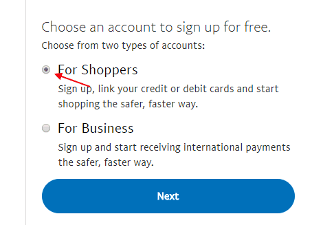 How to Create individual shoppers PayPal Account