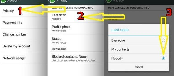 how to hide last seen Whatsapp Messanger